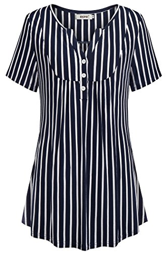 (BEPEI Women Tops and Blouses,Female Comfy Soft Formal Blouses Patchwork Tunics for Women Ladies Outfits Cute Split V Neck Shirts Summer Short Sleeve Stripe Career Office Tops Dark Blue White XL)