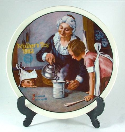 Bradford Exchange Knowles The Cooking Lesson Norman Rockwell Plate - Mothers Day Series - Year 1982 - CP1236