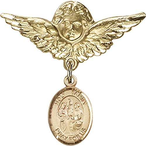 Gold Filled Baby Badge with Holy Family Charm and Angel w/Wings Badge Pin 1 1/8 X 1 1/8 inches by Unknown