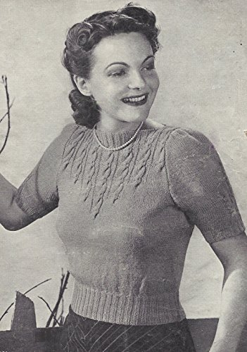 Vintage Knitting PATTERN to make - 40s Shorty Pullover Sweater Top Cable Yoke. NOT a finished item. This is a pattern and/or instructions to make the item ()