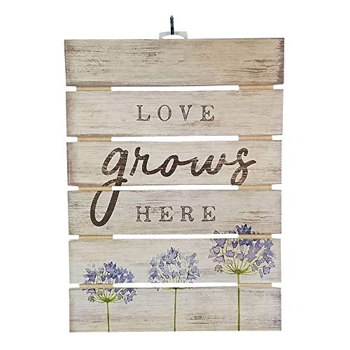 Imprints Plus Love Grows Here Inspirational Reclaimed Wood Sign, 12