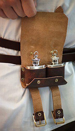 Medieval-Larp-SCA-Pagan-Steampunk-Gothic-Cosplay-Festival-Battle Ready-Leather DOUBLE TIPPLE POUCH by CL COSTUMES 3