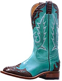 Boulet Western Boots Womens Stockman Cowboy Overlay West Turqueza 5189