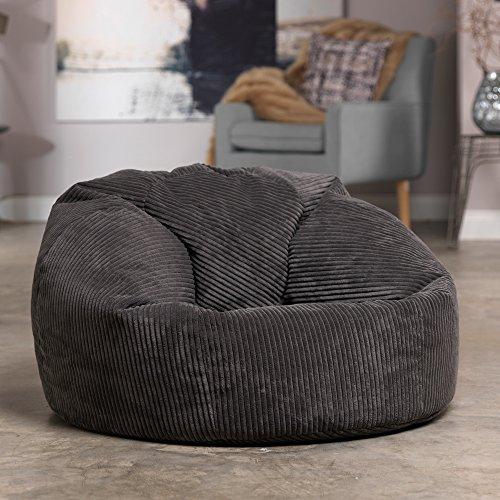 Luxury Jumbo Cord Bean Bag Snuggle Chair – Giant Luxury Beanbag Lounger Seat in Plush Retro Corduroy Fabric – Extra Large Bean Bags (Charcoal Grey)