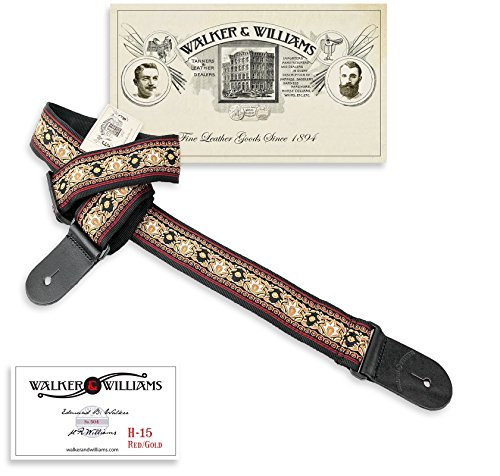 - Walker & Williams H-15 Golden Lotus 60's Style Hootenany Hippie Guitar Strap