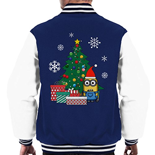Men's Varsity The white Christmas Navy Jacket Tree Under Gifts Minion wXYqf6T