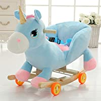 YIHANGG Wooden Rocking Horse for 1-3 Years Baby Boys and Girls,2 in 1 Plush with Wheels Cute Stuffed Animal Seat Chair Toddler Rocker Chair Kid Rocker Seat Soft Rocker Toy Birthday Gift