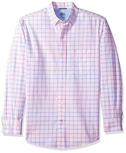 IZOD Men's Oxford Plaid Long Sleeve Shirt, Cradle Pink, (Red Plaid Oxford Shirt)