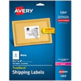 Avery® White Shipping Labels for Laser Printers with  TrueBlockTM Technology, 3-1/3 inches x 4 inches, 6 Labels, 25 Sheets,  (5264)