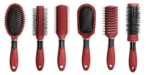 Linda Hair Brush Set, (Pack of 6) - Red