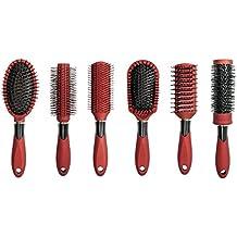 Linda Hair Brush Set, (Pack of 6) - Red