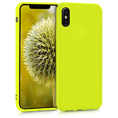 kwmobile TPU Silicone Case Compatible with Apple iPhone X - Soft Flexible Protective Phone Cover - Neon Yellow
