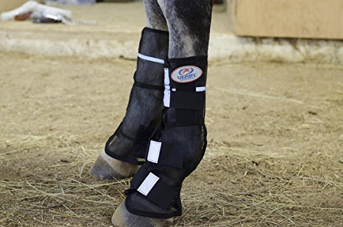 Derby New Reflective Mesh Horse Fly Boots - Pair - (Black) (Full Horse, (Reflective Horse Tack)