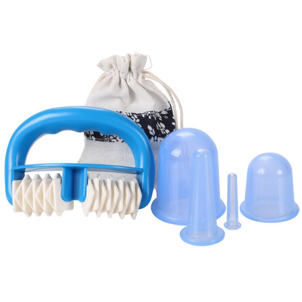 Silicone Cupping Massage, Enshey Handheld Massage Roller Household Full Body Roller Massage Vacuum Cupping for Detoxification Improve Blood Flow (Blue)