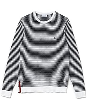 Men's Made In France Men's Striped Sweater With Contrast Zip in Size 6-XL White