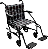 Drive Medical Fly Lite Ultra Lightweight Transport Wheelchair, Black Frame, 19''