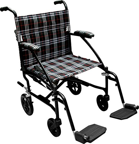 Drive Medical Fly Lite Ultra Lightweight Transport Wheelchair, Black Frame, (Lightweight Wheelchair)