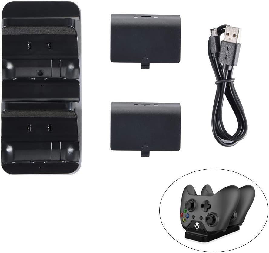 Game Controller Charger Dock Station Stand Holder + 2PCS 300mAh Rechargeable Battery Pack For Xbox One / One S Controller: Amazon.es: Videojuegos