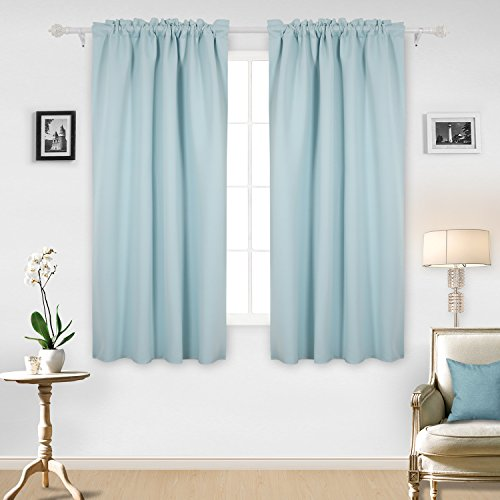 Deconovo Thermal Insulated Blackout Drapes Rod Pocket Curtain Marble Pattern Texture Embossed Curtains for Living Room 42x63 Inch Azure 2 ()
