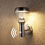 NBHANYUAN Lighting LED Outdoor Wall Light with Motion Sensor Outside PIR Stainless Steel Wall Sconce Fixture External Weatherproof Warm White Exquisite Lamp 3000K 1000LM 220-240V 9.5W (LED Ready)