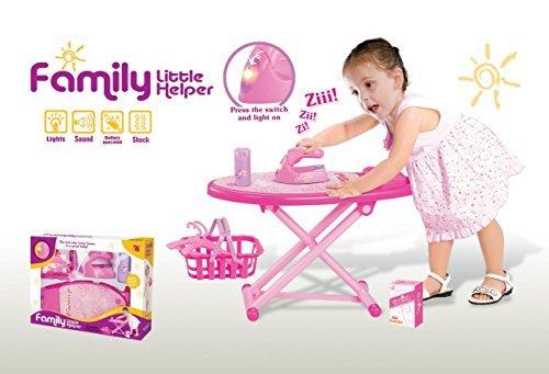 BEEFUN Pink Family Little Helper Ironing Playset with ironing board, iron, basket (Little Helper Iron)