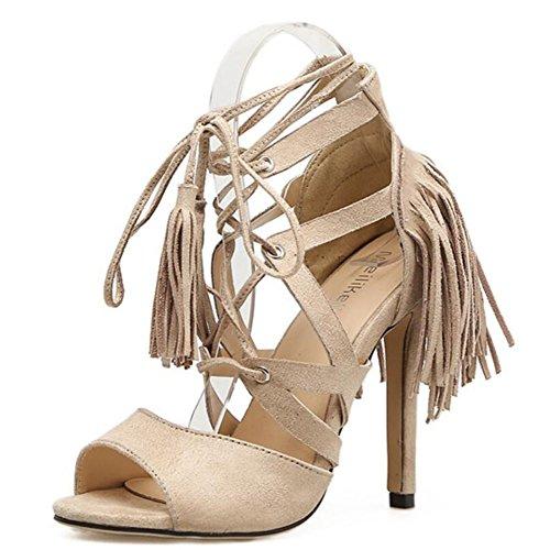 de Zapatos tacón de alto boca de de con Apricot GAOLIXIA pescado de confort Margen fino mujer con de romanas negro zapatos verano sandalias albaricoque fq8wrfxaz