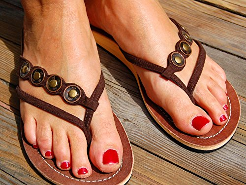 SEESTERN Damen Leder Zehentrenner Zehensandale Zehensteg Sandalen in Größe 36-44 Brauntöne