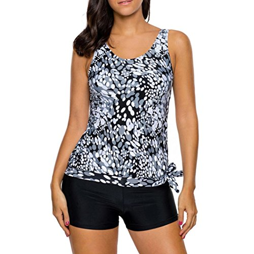 Women Tankini Set Boy Shorts Ladies Swimwear Two Piece Swimsuits Split Wave Two Piece Swimsuit (XL) Black