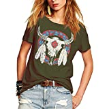 Romastory Women's Street Style Printed T-Shirts Short Sleeve Loose Tops Tee Shirt (L, Army Green)