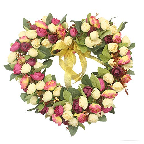 Florist Flower Wreath Rose Garland for Home Wall Wedding Decoration (champagne-heart-shaped) -
