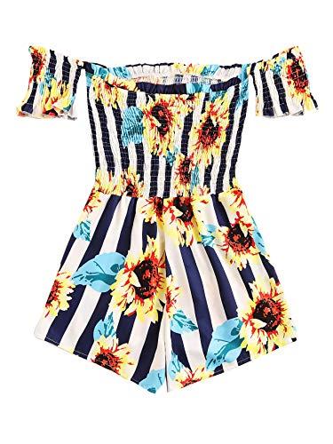 Milumia Women Off Shoulder Sunflower and Stripe Print High Waist Shirred Romper Multicolor S