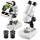 Landove Stereo Microscope - Science Lab 3D Scope - 20X 40X Magnifications -Capture Beauty in The Microworld with Smartphone Mount