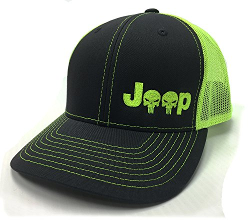 Skull Cap Charcoal (Jeep Logo With Punisher Skull Symbol Left Panel Embroidered Mesh/Twill Cap - Charcoal/Neon Green)