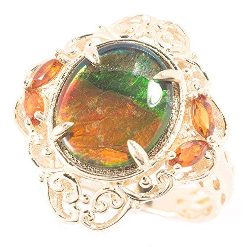 (Michael Valitutti 14k Yellow Gold Ammolite and Madeira Citrine Ring)