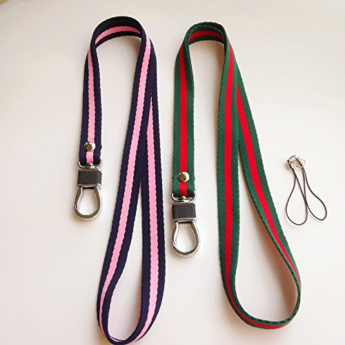 Premium Neck Lanyard /Straps with Deluxe Leather Alloy Hook &Tone Split Ring For Phone, iPod, USB, Key, ID Name Tag Badge Holder & other Portable Stuff --2 Pack (Picture 3)