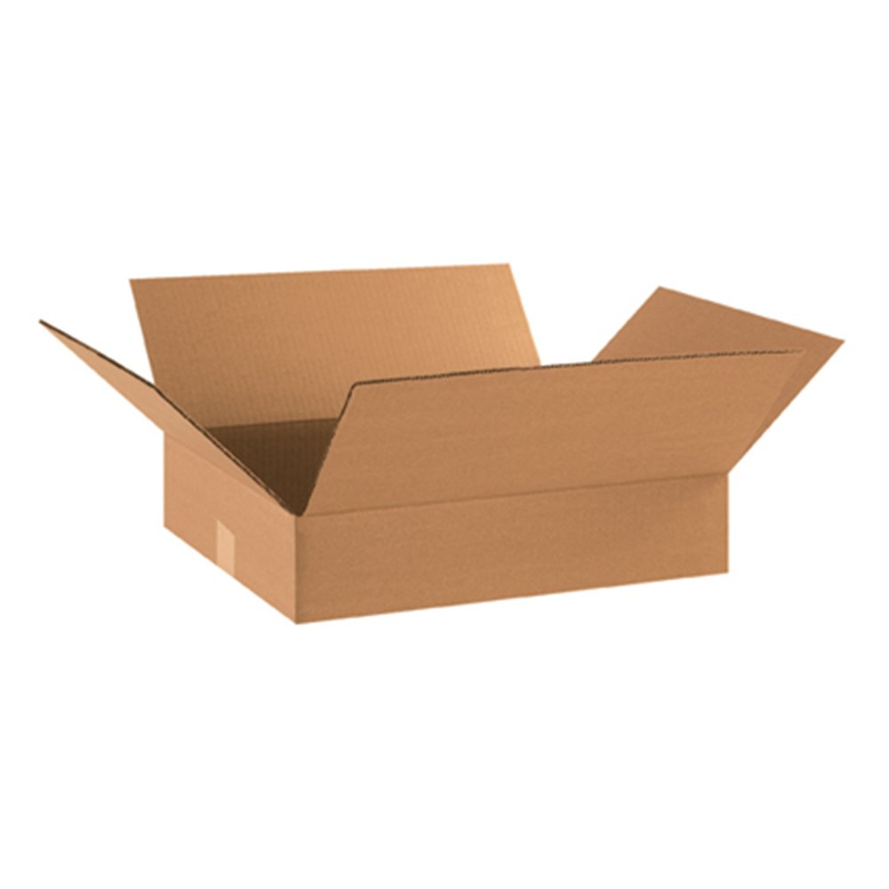 "Aviditi 18144 Flat Corrugated Cardboard Box 18"" L x 14"" W x 4"" H, Kraft, for Shipping, Packing and Moving (Pack of 25)"