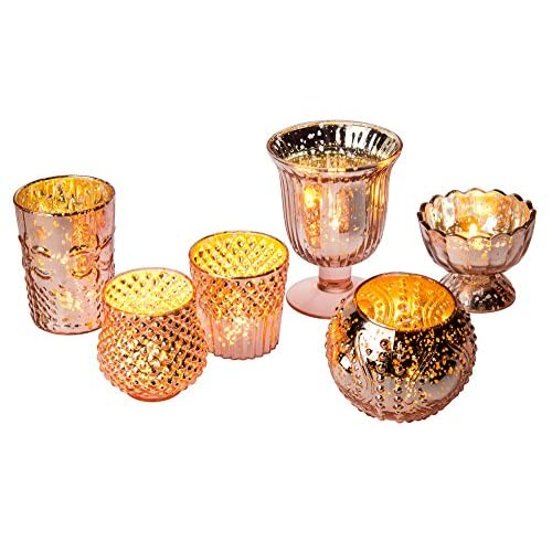 Luna Bazaar Vintage Glam Mercury Glass Candle Holders (Rose Gold, Set of 6) - for Use with Tea Lights - for Home Decor, Parties, and Wedding Decorations - Mercury Glass Votive Holders