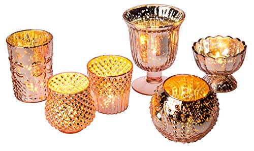 Urn Fluted Large (Luna Bazaar Vintage Glam Mercury Glass Candle Holders (Rose Gold, Set of 6) - for Use with Tea Lights - for Home Decor, Parties, and Wedding Decorations - Mercury Glass Votive Holders)