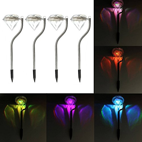 Diamond Garden (Holidayli 4Pack Led Color Changing Solar Diamond Stake Lights Garden Lawn Landscape Pathway Lamps)