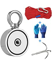 Fishing Magnet with Grappling Hooks,66ft Rope & Glove,760LB Pulling Force Super Strong Neodymium Magnet with Heavy Duty Rope & Carabiner for Magnet Fishing and Retrieving in River