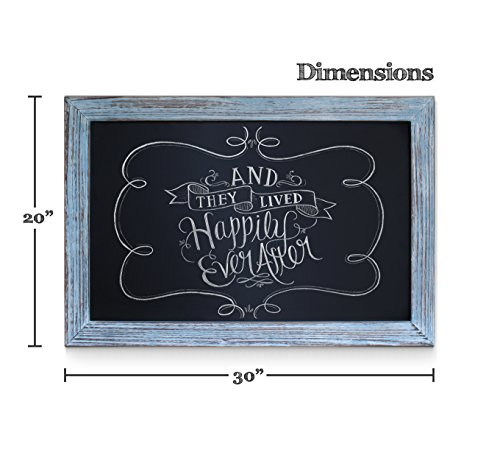 Rustic Blue Magnetic Wall Chalkboard, Extra Large Size 20'' x 30'', Framed Decorative Chalkboard - Great for Kitchen Decor, Weddings, Restaurant Menus and More! … (20''x30'') by HBCY Creations (Image #1)'