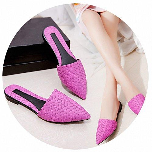 Bien Piso Moda Puntiagudos Zapatos con Zapatillas Frescos negro Plano Fondo Arrastre Baotou Palabra EUR35 Zapatos con rH5rpxw