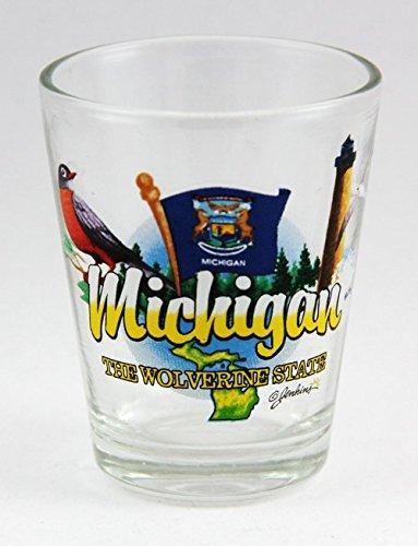 Michigan Wolverines Shot Glass - Michigan Wolverine State Elements Shot Glass