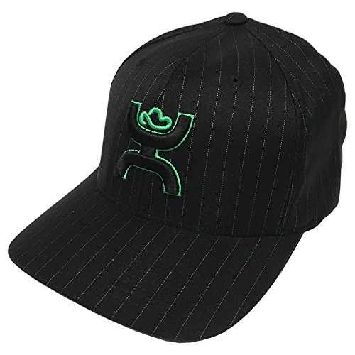 HOOey Brand Hammer Pin Pinstripe Black/Green Flexfit Hat - (Green Hat Pin)
