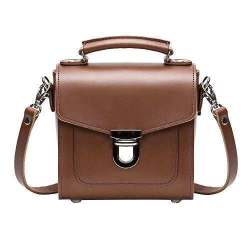 Zatchels main à Top en Handle cuir Sac foncé Femme Marron BHwBFr