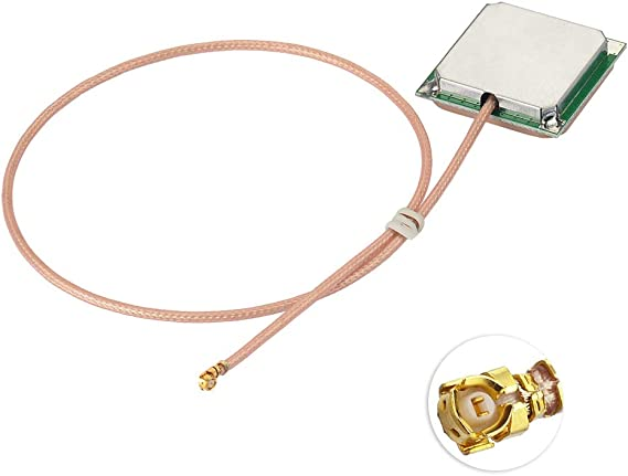 Eightwood Antena de cerámica Activa Externa Antena GPS con Cable IPX de 30 cm (1.37 mm) Conector U.FL Conector SMA Compatible para el módulo GPS ...