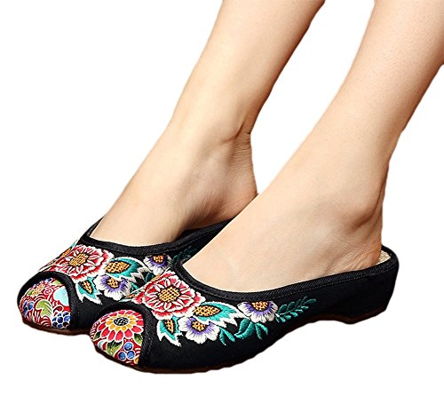 AvaCostume Sunflower Embroidery Womens National Flavor Slipper Shoes, Black, 40