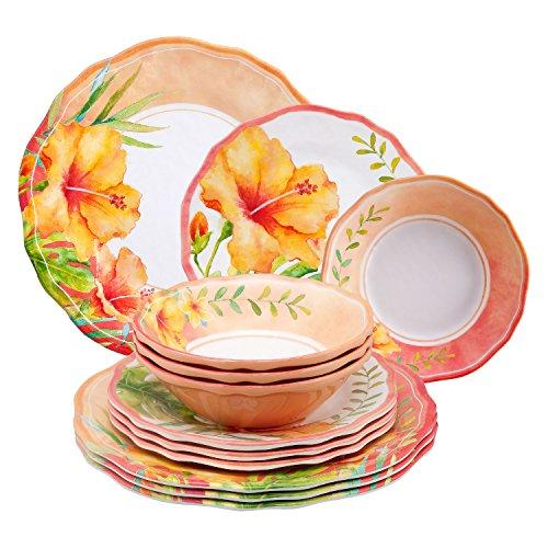 - Gourmet Art 12-Piece Hibiscus Melamine Dinnerware Set
