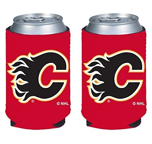 fan products of NHL Hockey 2014 Team Color Logo Can Kaddy Holder Koozie Cooler 2-Pack (Calgary Flames)