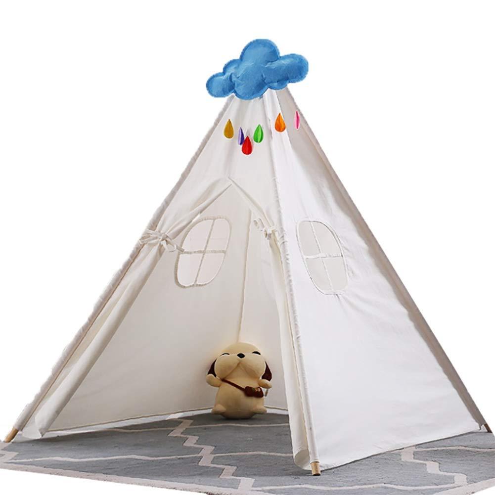 子供用ティーピーテント子供用ティーピープレイハウス、屋内/屋外用綿キャンバス身長145cm   B07QHX14PD